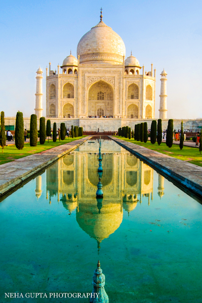 Reflecting pool at Taj Mahal, India.