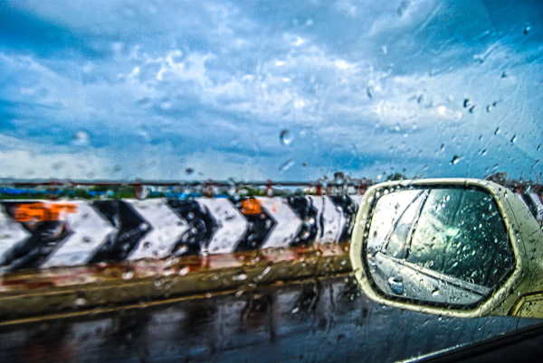 Monsoon photograph from inside a car