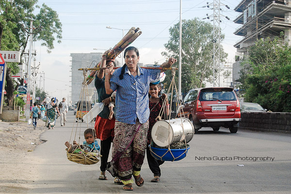 Street Photography - Indian Lady Carrying Goods & Her Child