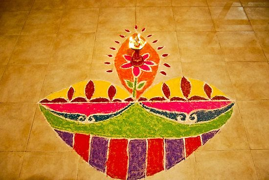 A diya rangoli on Diwali